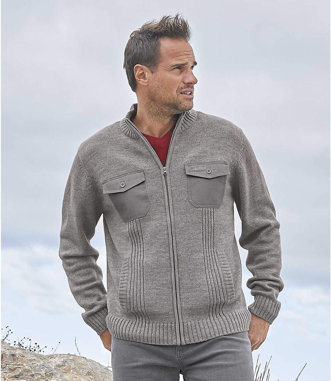 Úpletový sveter na zips Atlas Outdoor