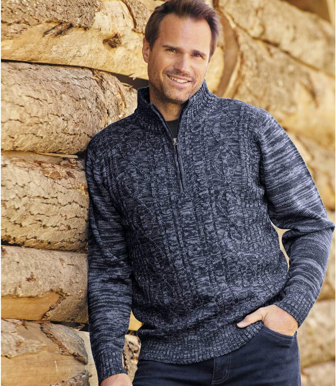 Men's Blue Cable Knit Jumper