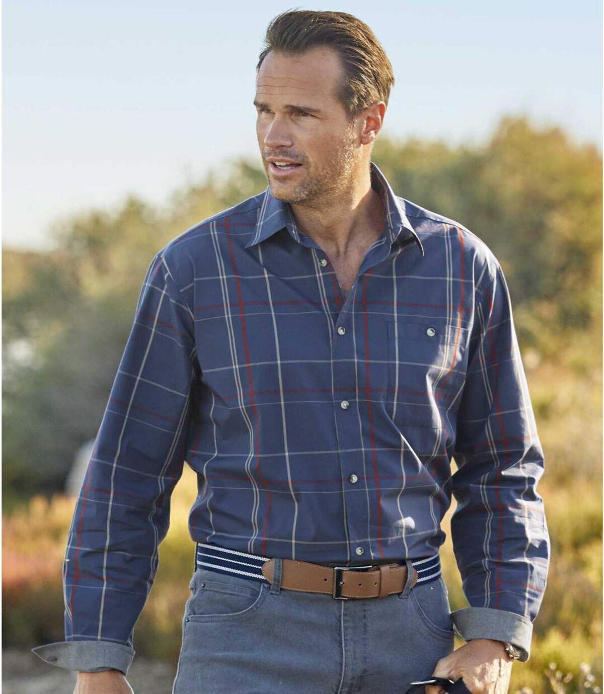 Men's Blue Poplin Plaid Shirt  Atlas For Men