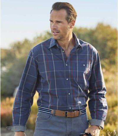 Men's Blue Poplin Plaid Shirt