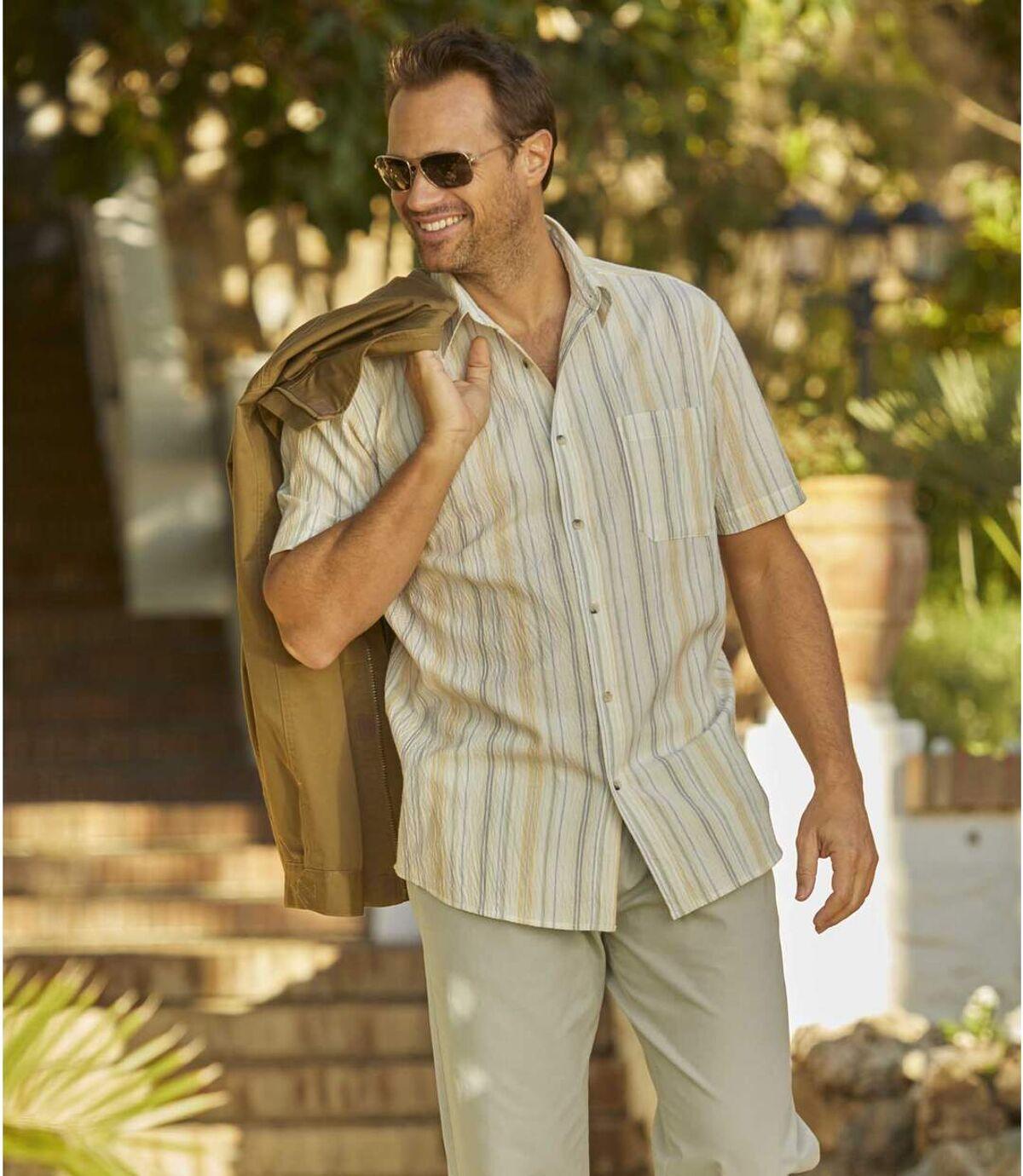Proužkovaná krepová košile Atlas For Men