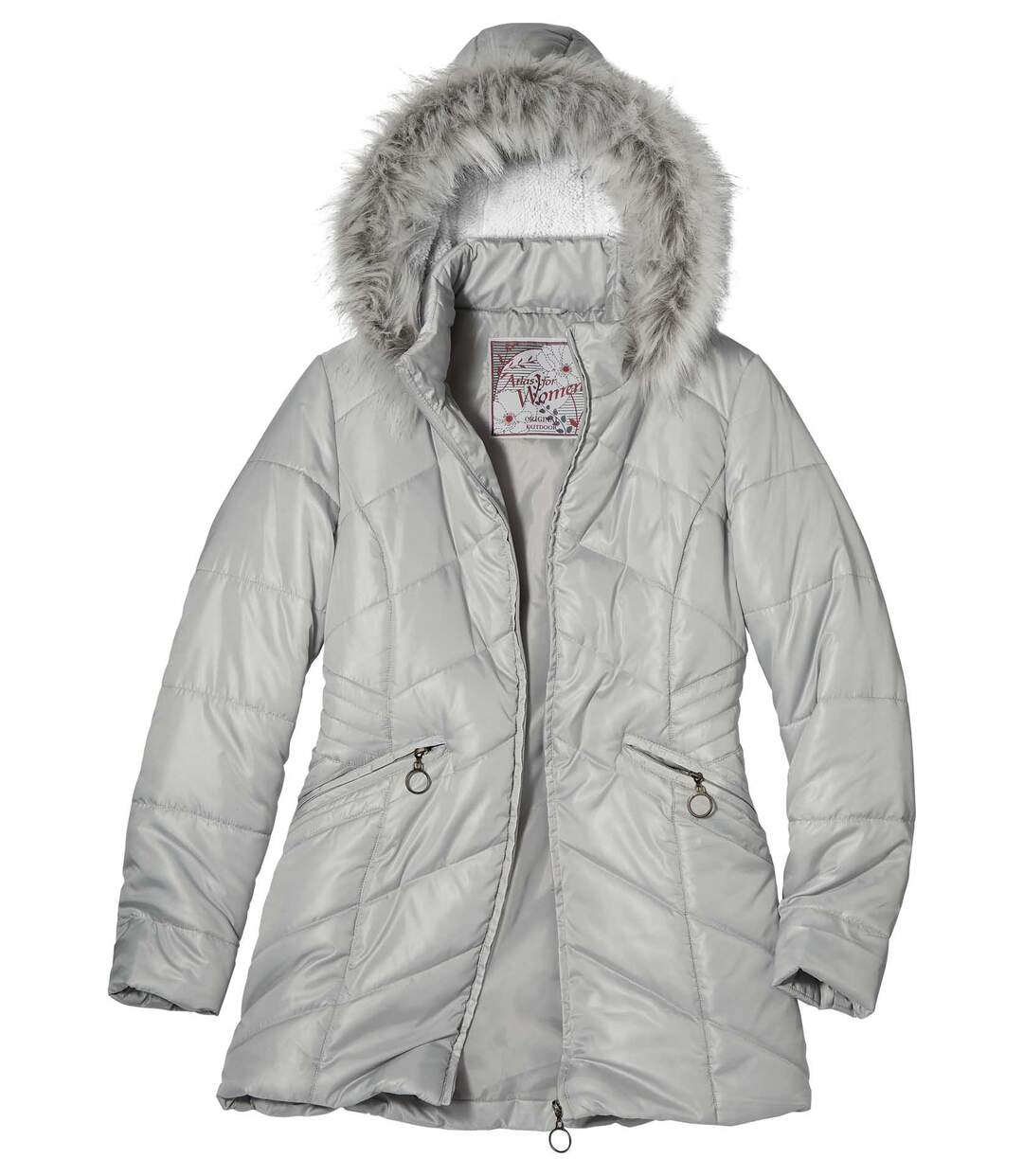 Opalizująca, nieprzemakalna kurtka zimowa