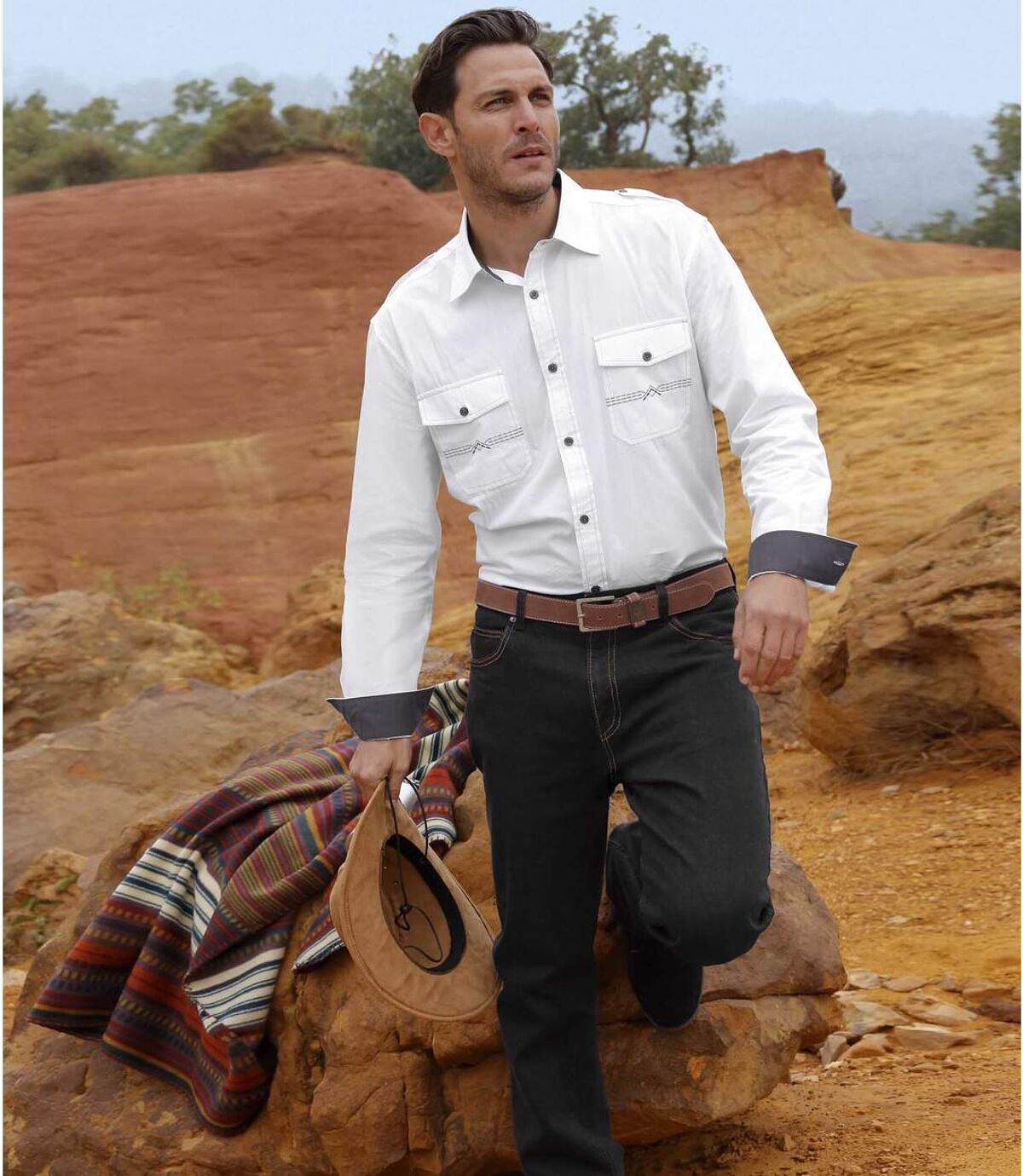 Czarne jeansy ze stretchem Atlas For Men