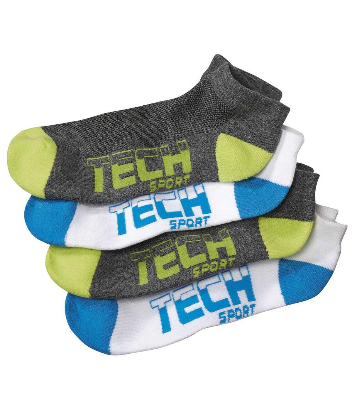 Pack of 4 Pairs of Men's Sport Socks - Grey White Atlas For Men