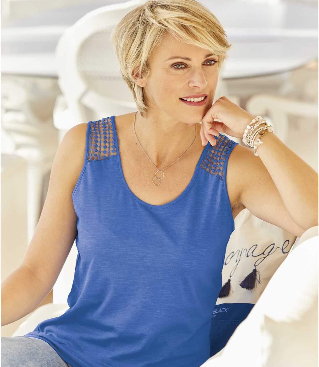 Pack of 2 Women's Macramé Vest Tops - Blue Off-White
