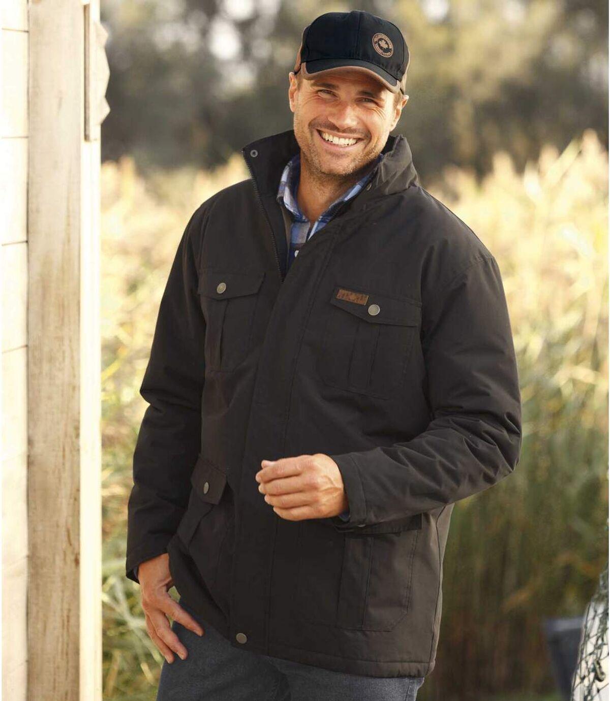 Men's Water-Repellent Black Parka - Foldaway hood Atlas For Men