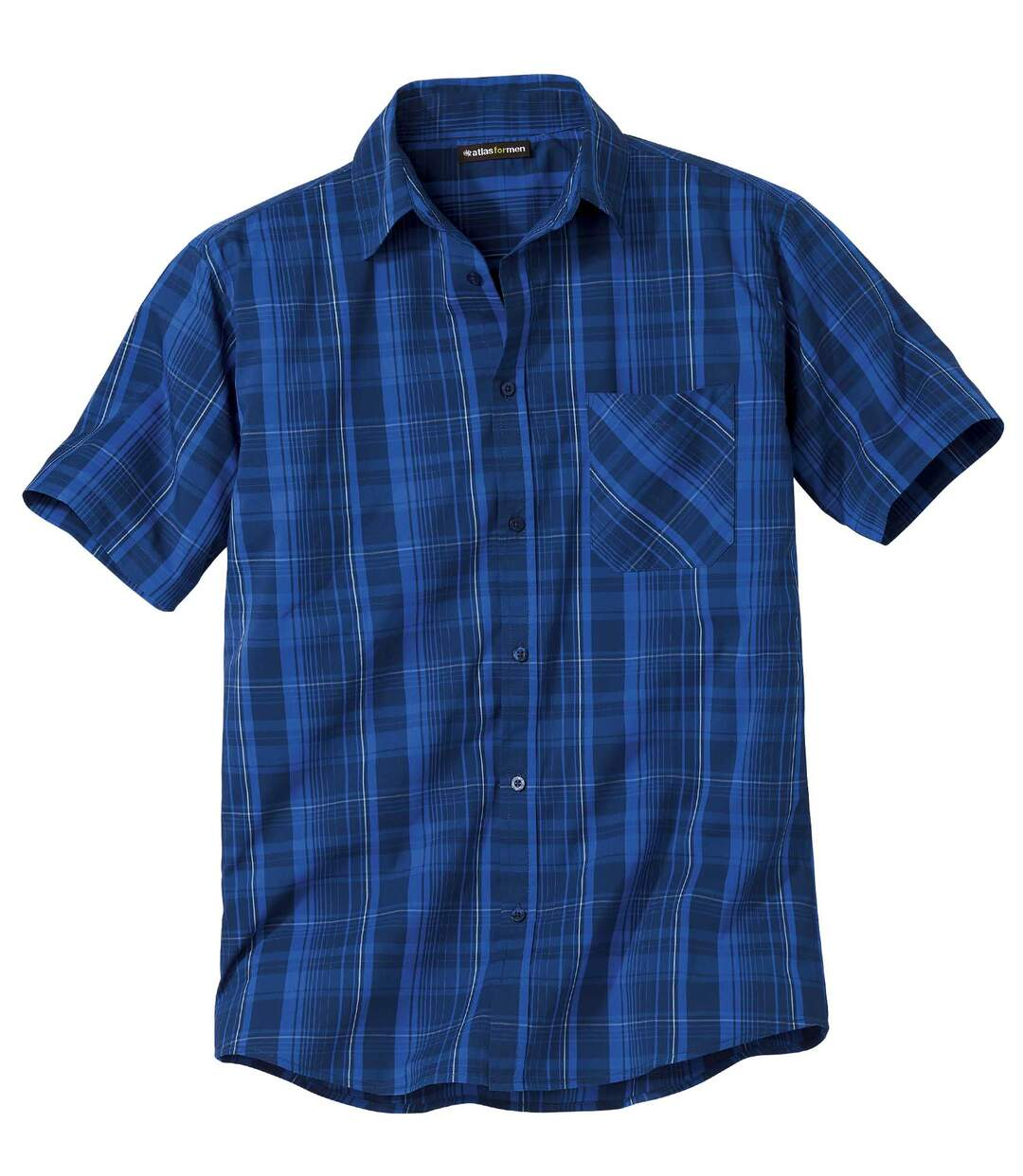 Men's Blue Stretch Checked Shirt