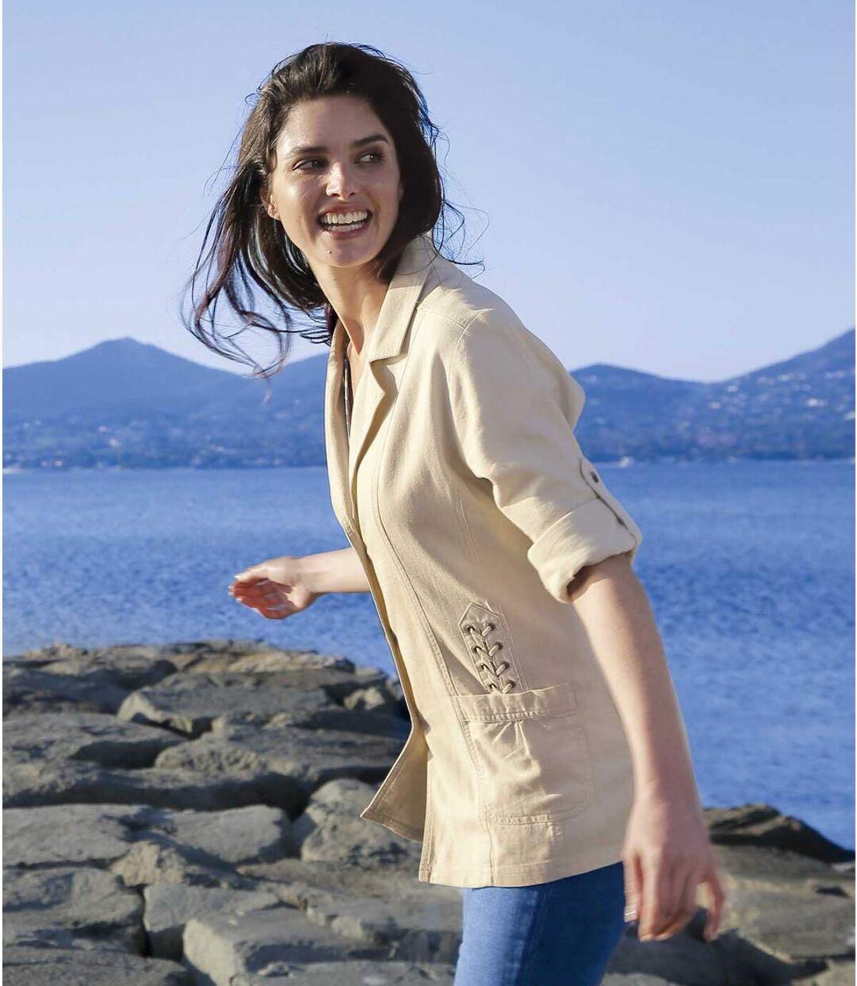 Women's Cream Lace-Up Summer Jacket Atlas For Men