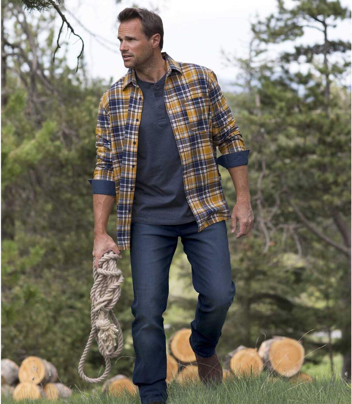 Blaue Stretch-Jeans mit Regular-Schnitt Atlas For Men