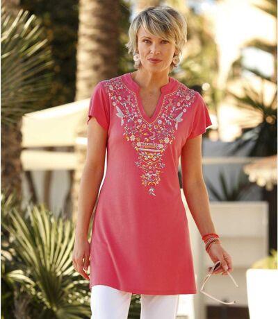 Women's Pink Patterned Maxi T-Shirt