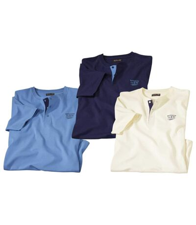 Pack of 3 Men's Henley T-Shirts - Blue, Navy, Cream