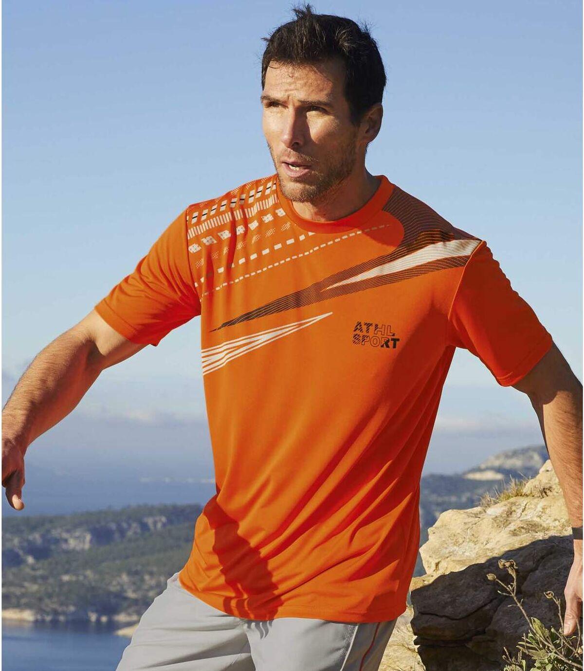 Pack of 3 Men's Active T-Shirts - Orange Blue White Atlas For Men