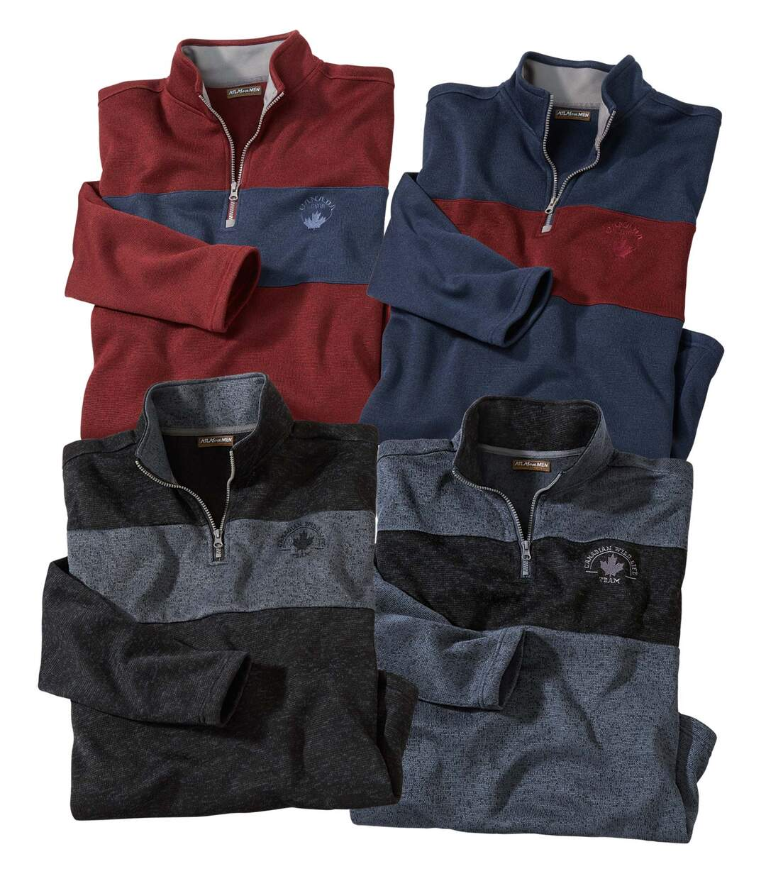 Pack of 4 Men's Brushed Fleece Jumpers