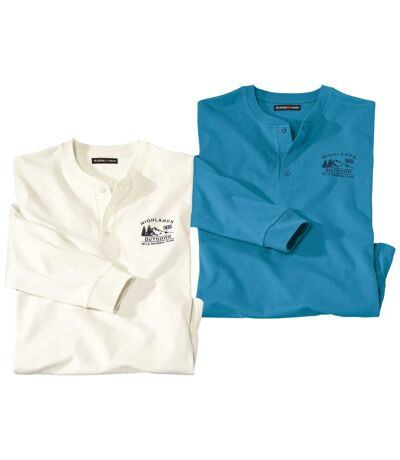 Pack of 2 Men's Button-Neck Tops - Turquoise - Off-White