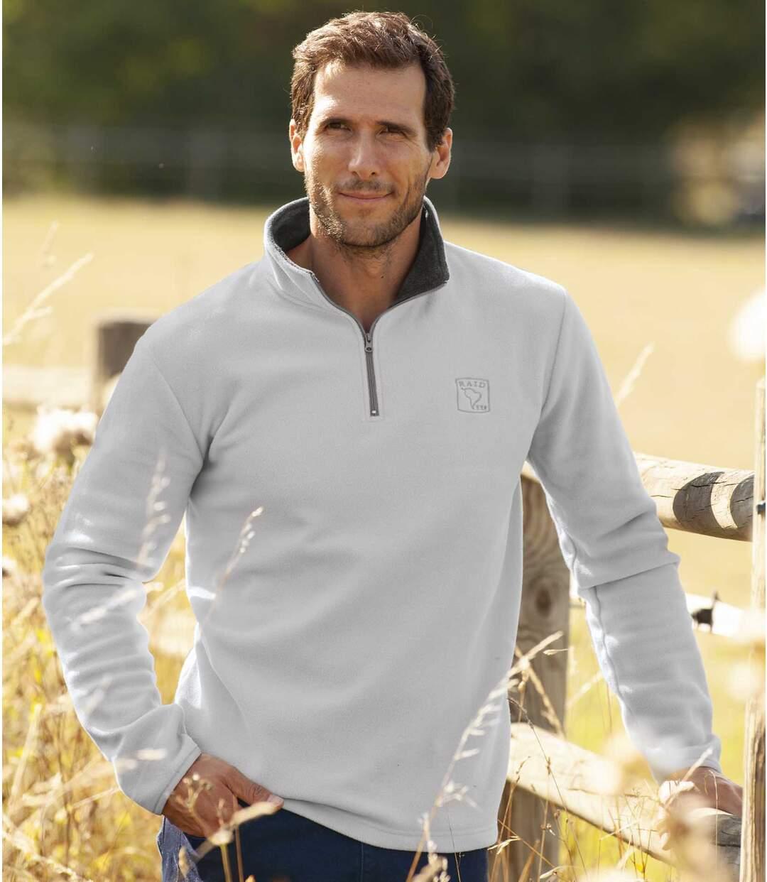 Men's Microfleece Half Zip Sweater - Pearl Gray Atlas For Men