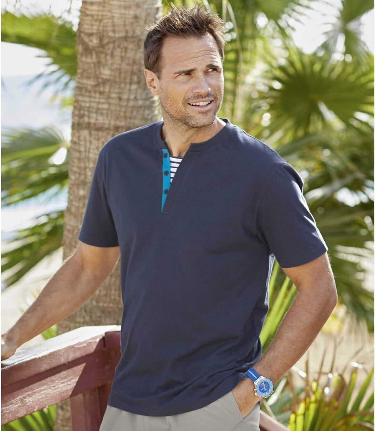 Pack of 2 Men's Sailing T-Shirts - Navy Blue Atlas For Men