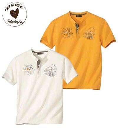 Lot de 2 Tee-Shirts Col Tunisien Sahara
