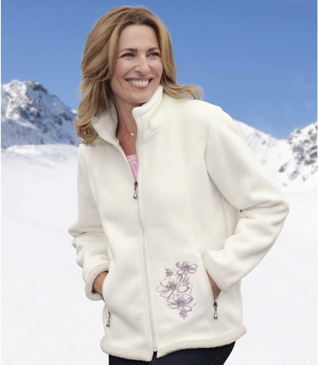 Women's Ecru Fleece Jacket with Sherpa Lining