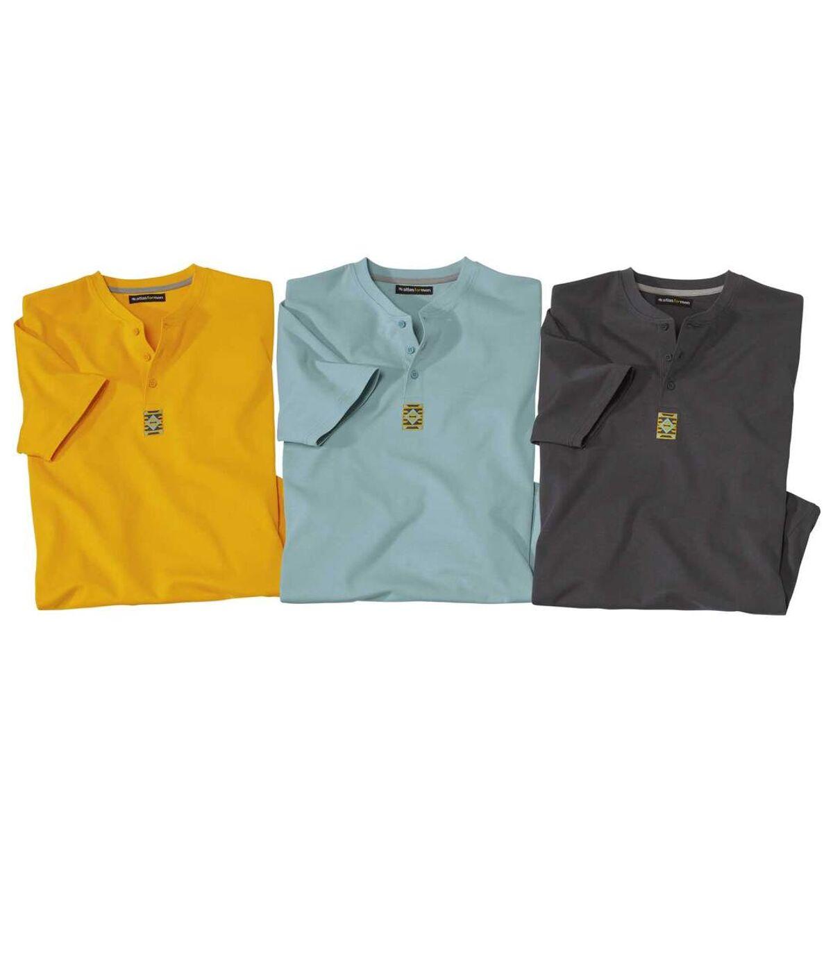 Lot de 3 Tee-shirts Col Tunisien Unis  Atlas For Men