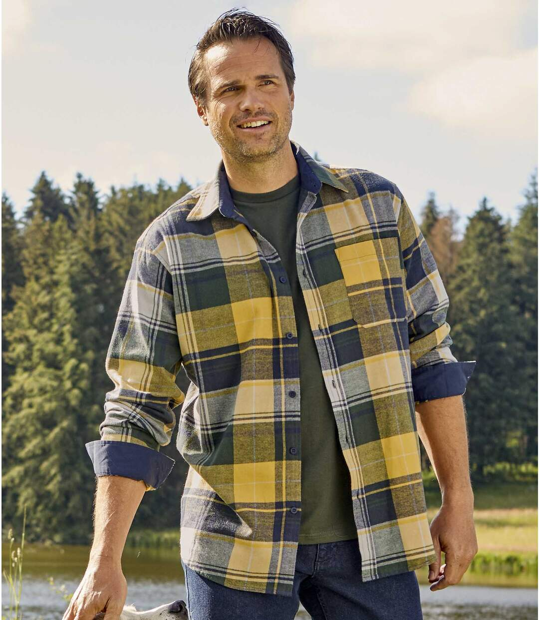Men's Checked Flannel Shirt - Yellow