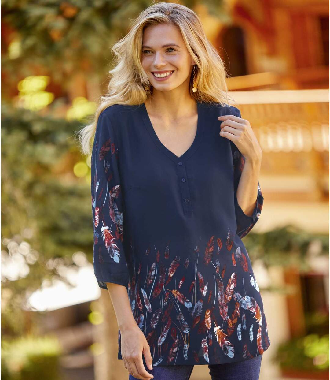 Women's Feather Print Crepe Blouse - Navy