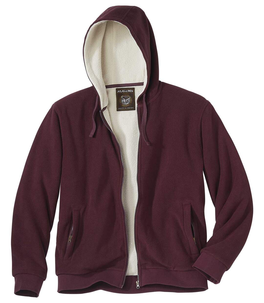 Men's Fleece Hoodie with Sherpa Lining and Full Zip – Burgundy Beige