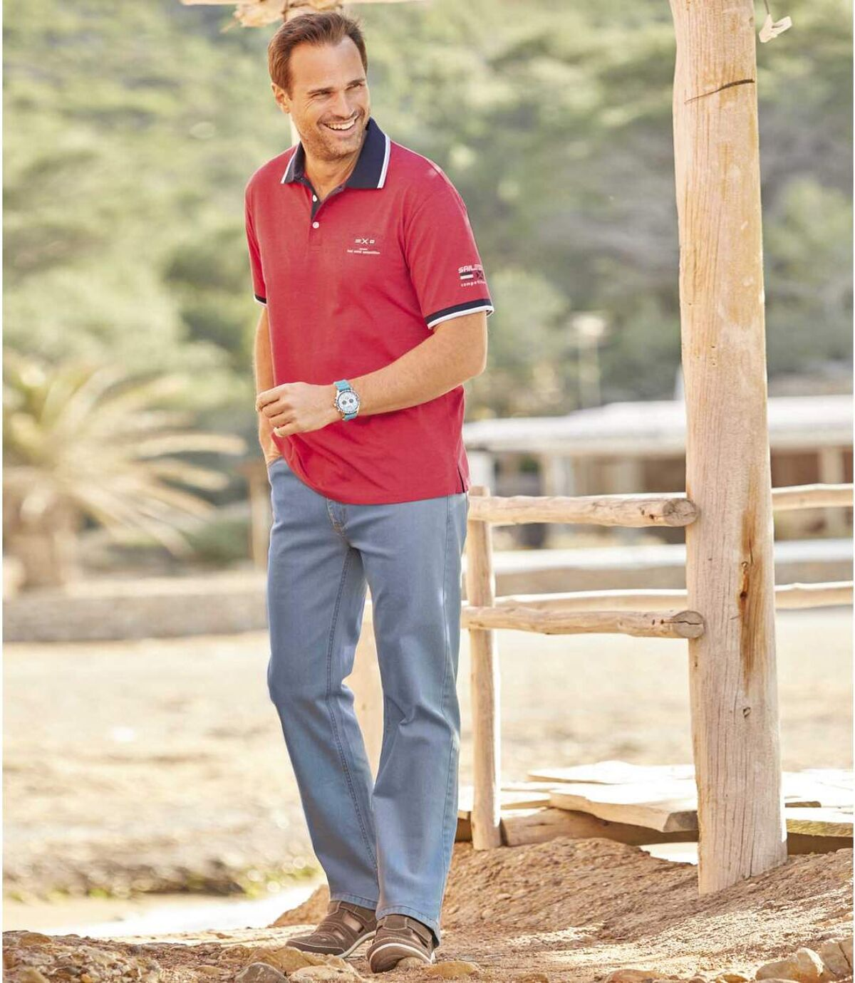 Svetlomodré elastické džínsy Regular Atlas For Men