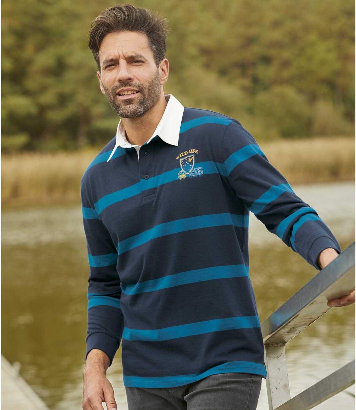 Men's Striped Long-Sleeved Polo Shirt - Navy Blue Atlas For Men