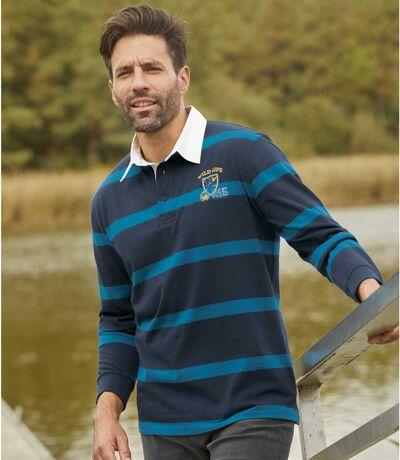 Men's Striped Long-Sleeved Polo Shirt - Navy Blue