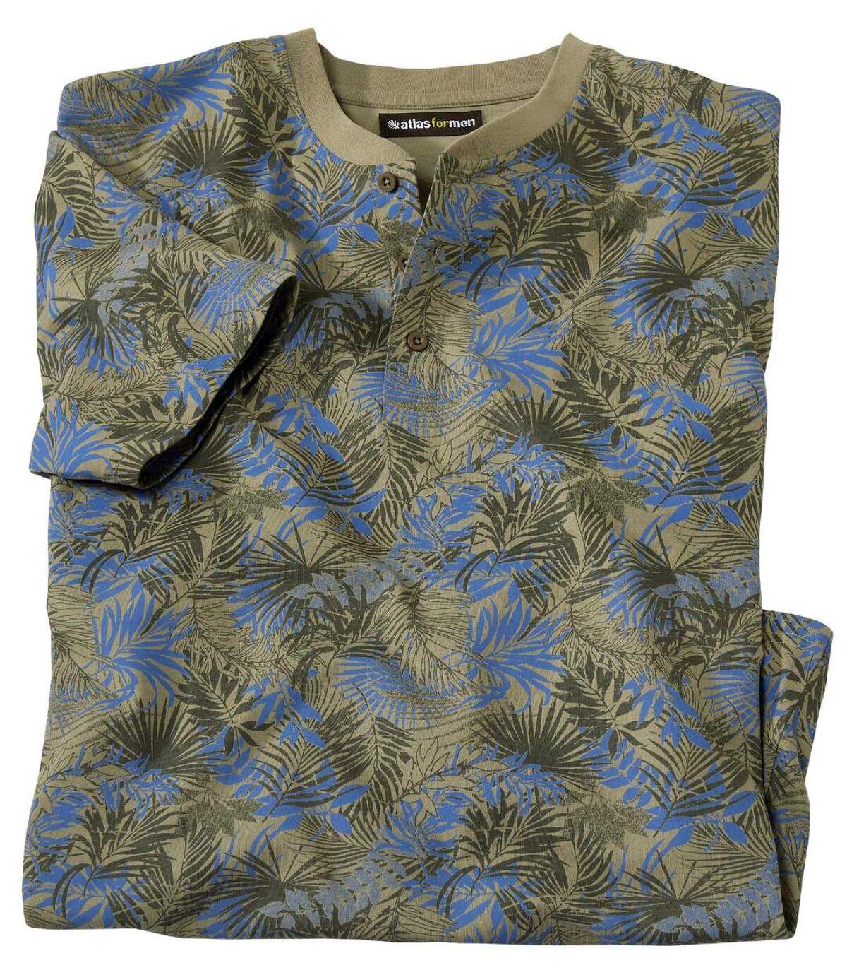 Men's Camouflage T-Shirt with Tunisian Collar - Khaki Atlas For Men