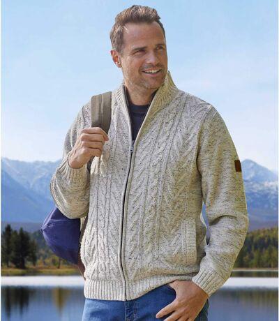 Men's Beige Full Zip Knitted Jacket - Fleece Lining