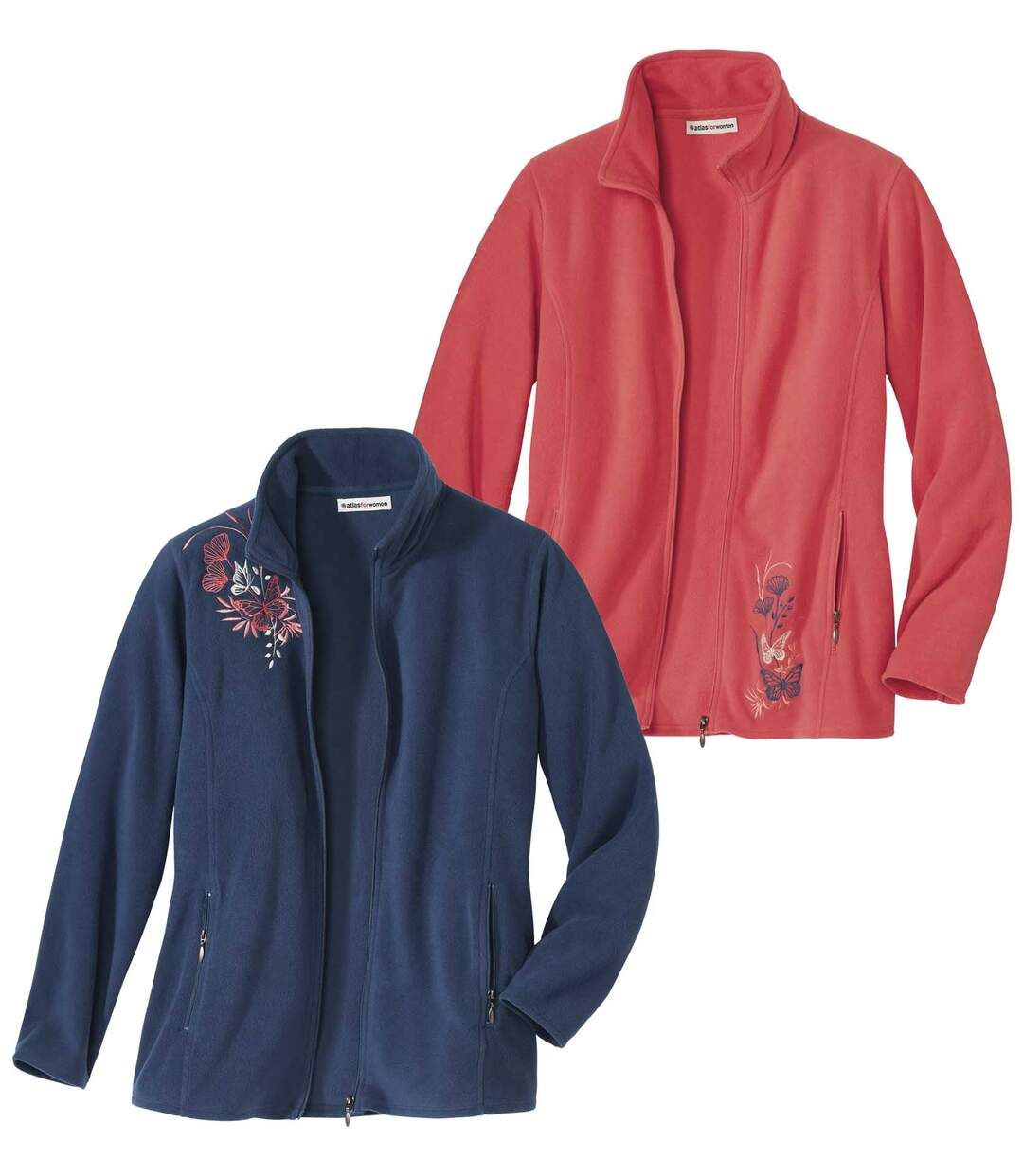 Pack of 2 Women's Embroidered Microfleece Jackets - Blue Pink  Atlas For Men