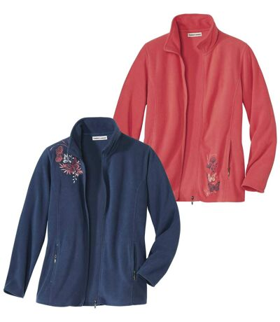 Pack of 2 Women's Embroidered Microfleece Jackets - Blue Pink