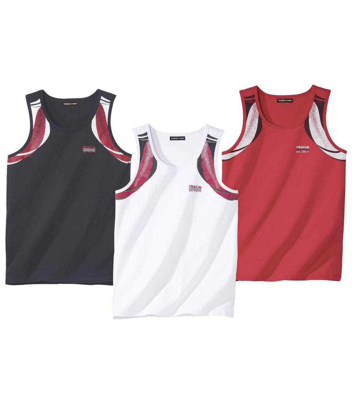 Pack of 3 Men's Sporty Tank Tops - Red, Black, White Atlas For Men