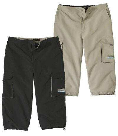 Pack of 2 Men's Cropped Cargo Pants - Black Beige
