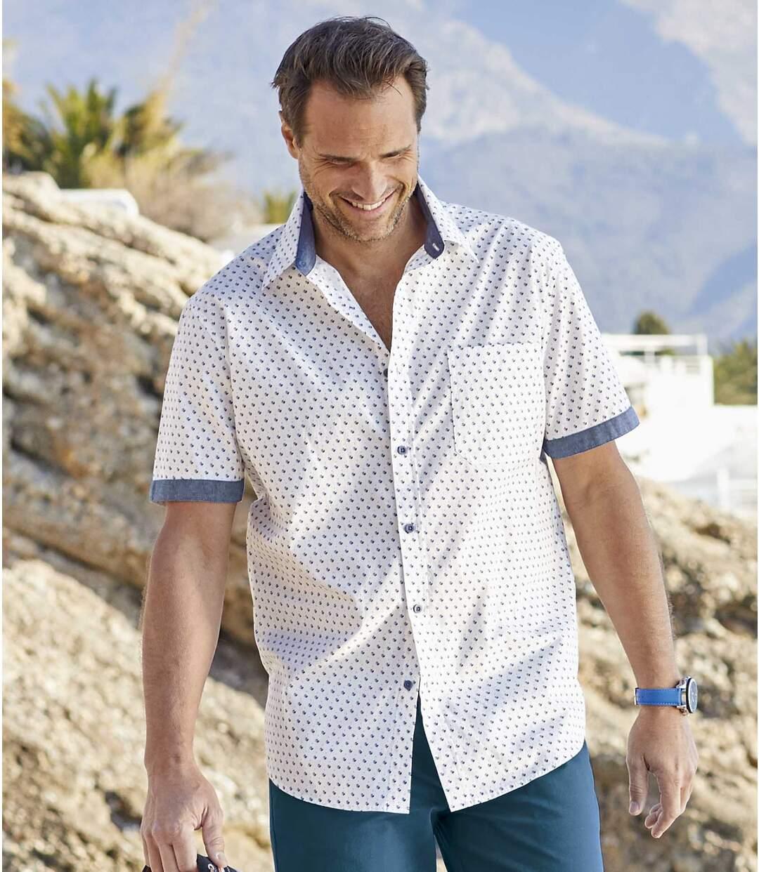Men's White Patterned Summer Shirt Atlas For Men