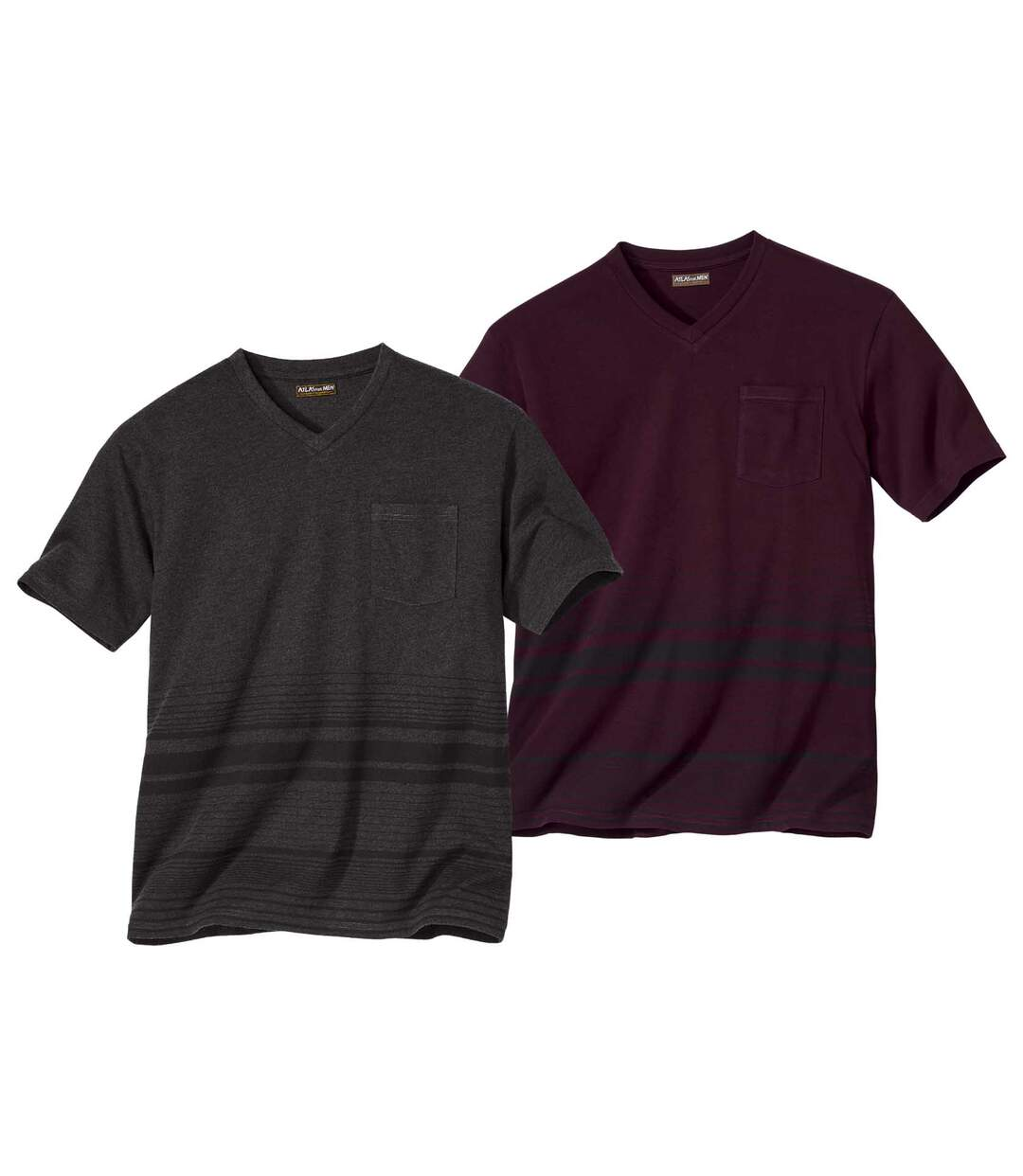 Pack of 2 Men's Striped T-Shirts - Burgundy Grey
