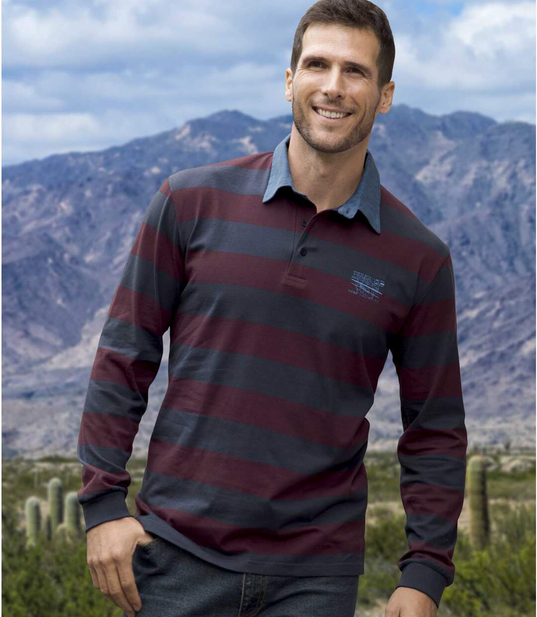 Men's Striped Polo Shirt with Denim Collar - Jersey