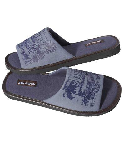 Men's Blue Indoor Slide Slippers