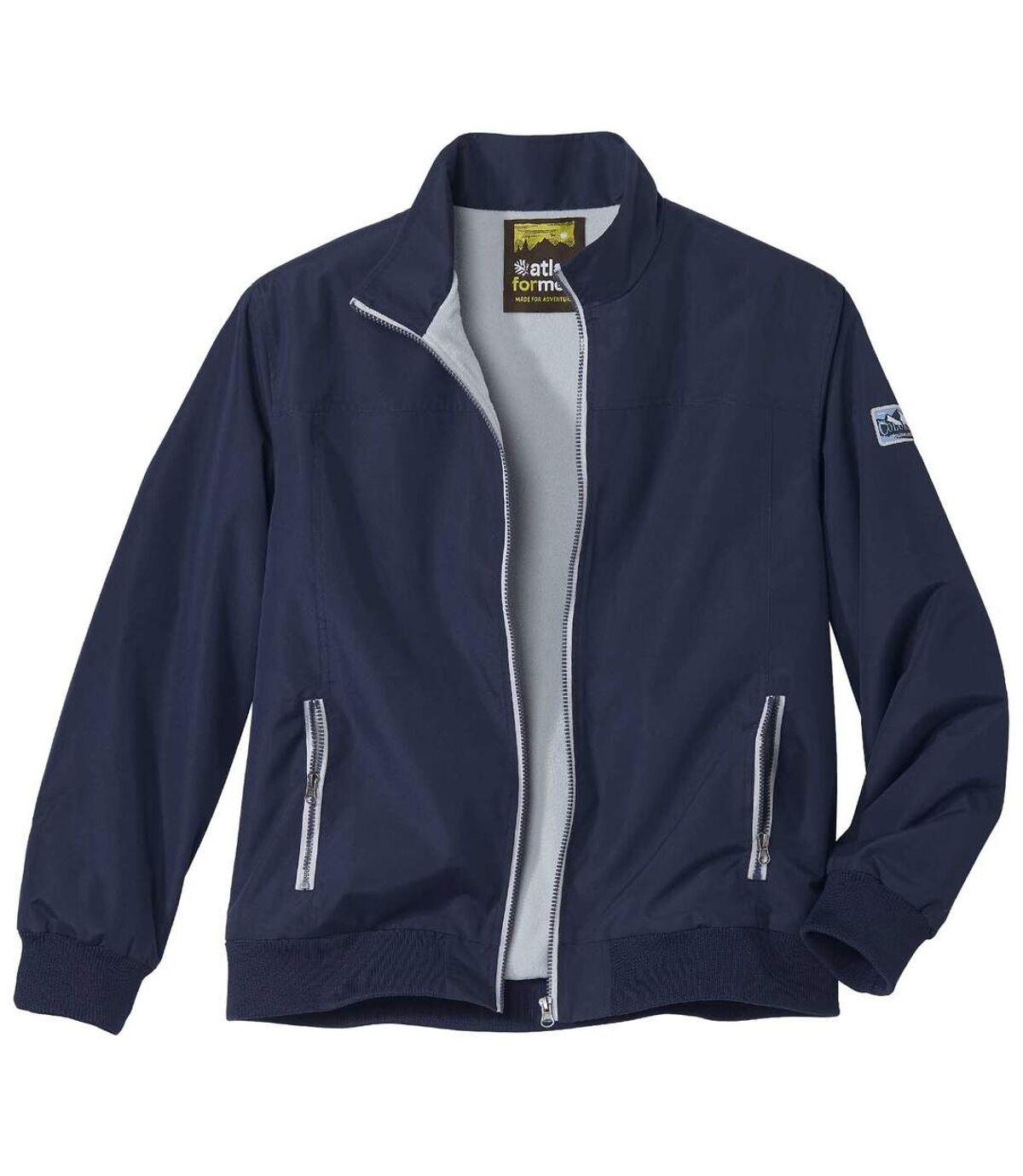Men's Navy Fleece-Lined Microfiber Jacket - Full Zip - Water-Repellent Atlas For Men