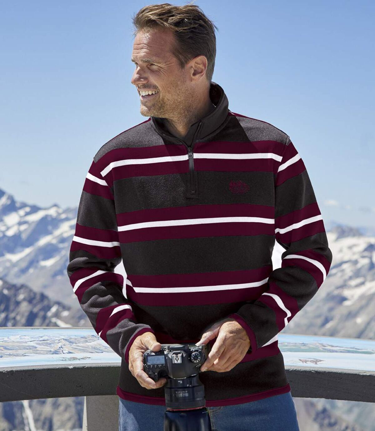 Cipzáras nyakú csíkos, Sziklás-hegység molton pulóver Atlas For Men