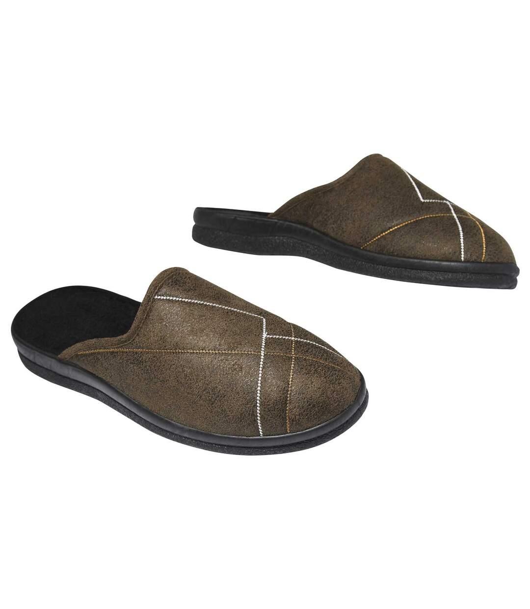 Pánské pantofle z imitace semiše zateplené fleecem