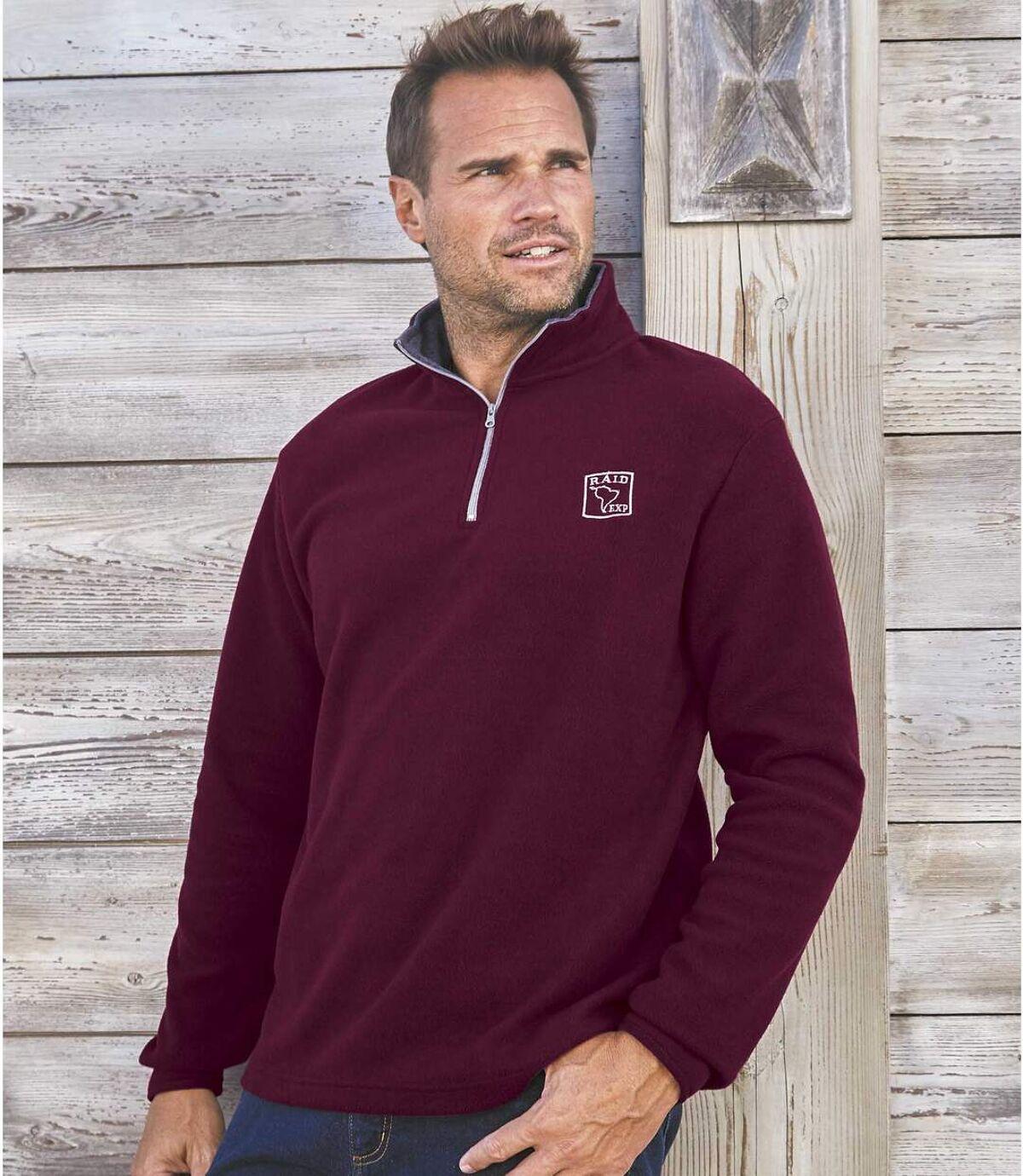 Pack of 2 Men's Microfleece Zip Up Sweaters - Plum Oatmeal Atlas For Men