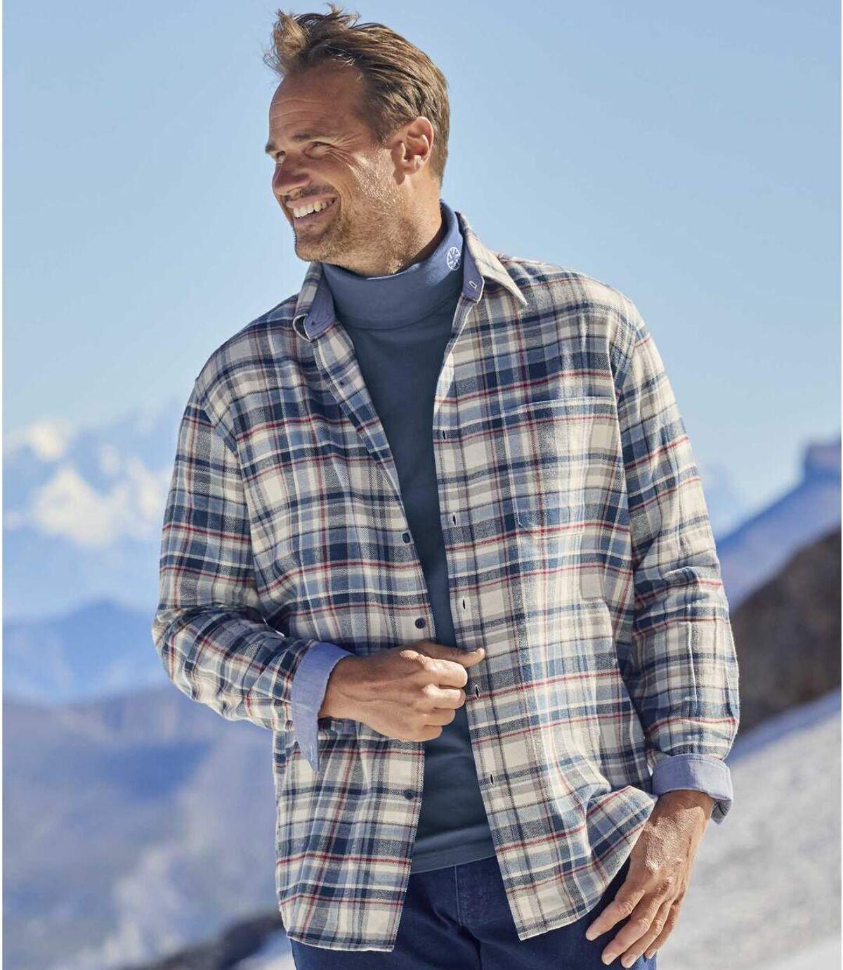Flanelowa koszula w kratę z detalami z tkaniny chambray Atlas For Men