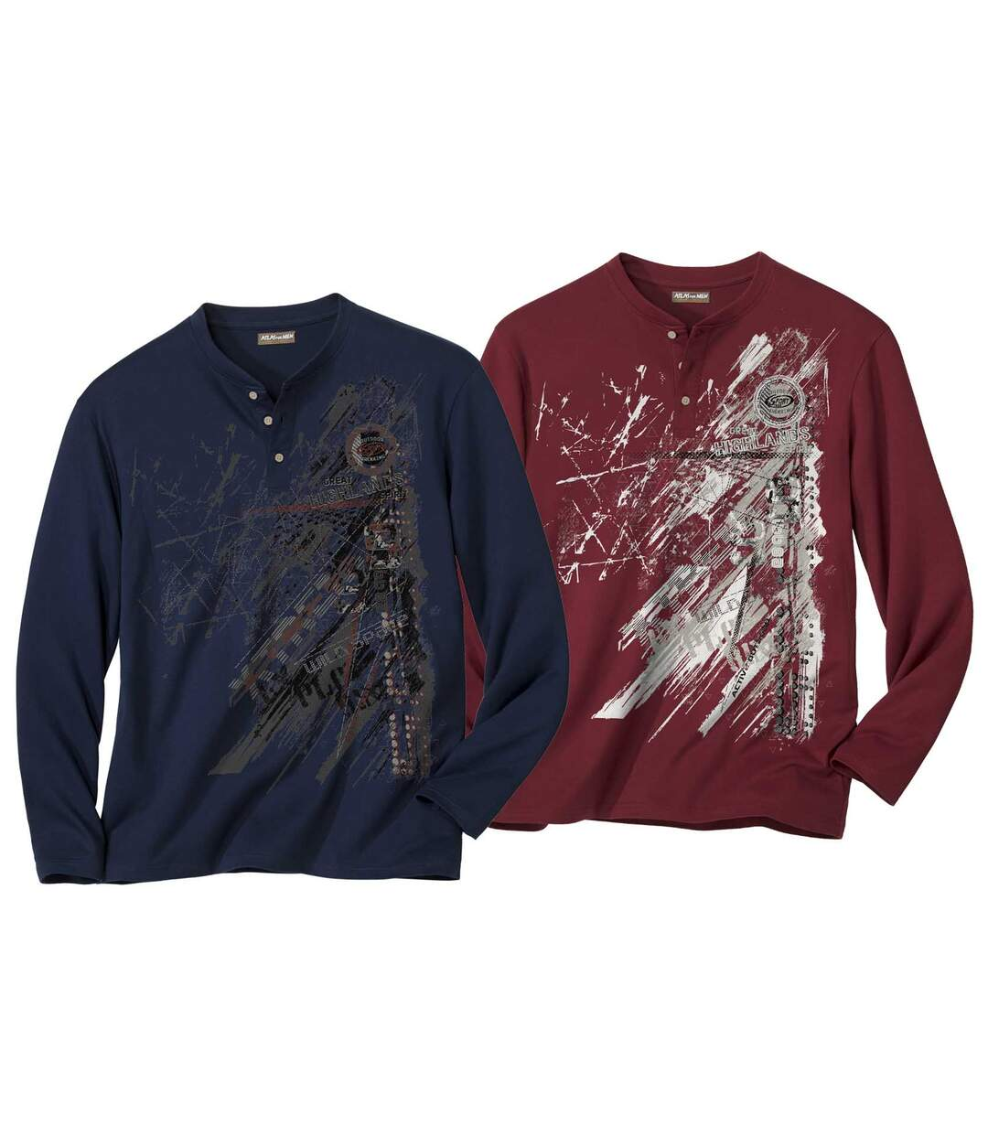 Pack of 2 Men's Long Sleeve Tops with Stylish Print - Navy Burgundy