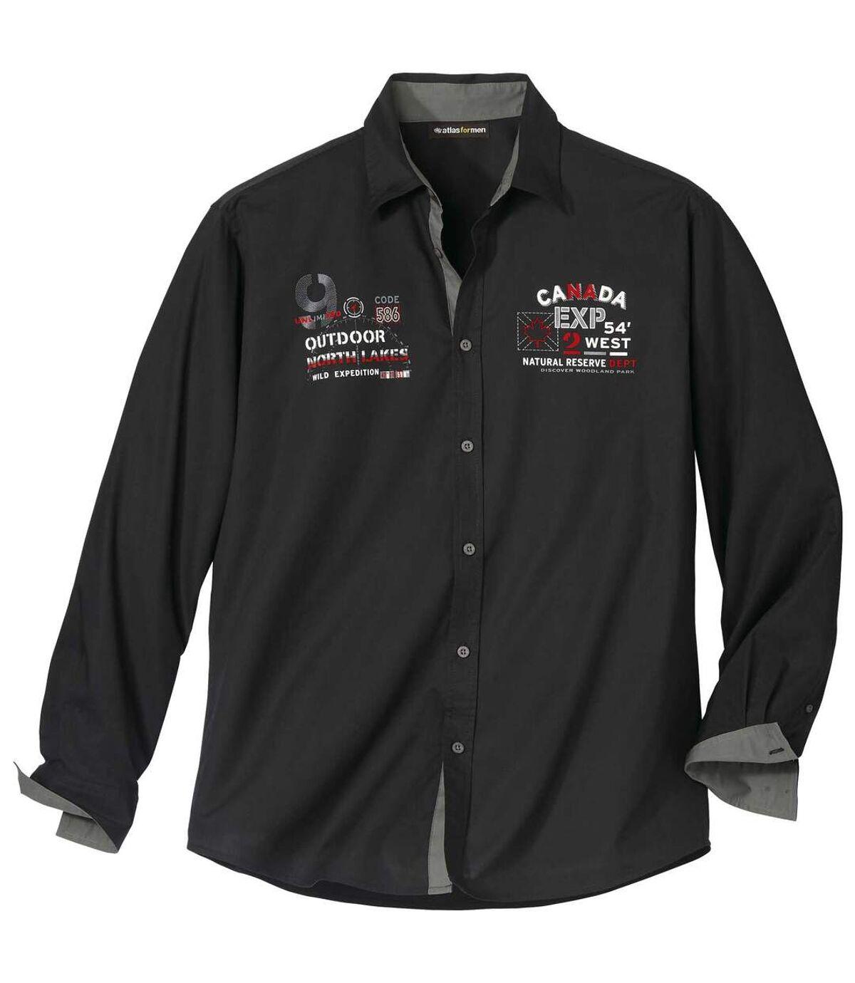 Men's Black Poplin Shirt Atlas For Men