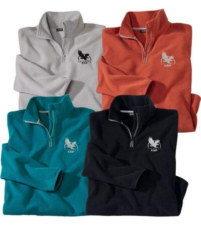 Pack of 4 Men's Maxi-Comfort Microfleece Jumpers - Half Zip - Brick Red, Black, Mallard Blue, Pearl Grey