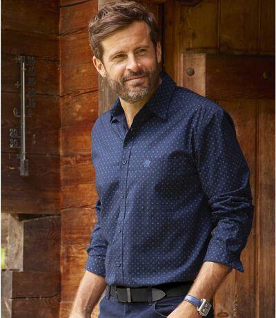 Men's Patterned Navy Poplin Shirt