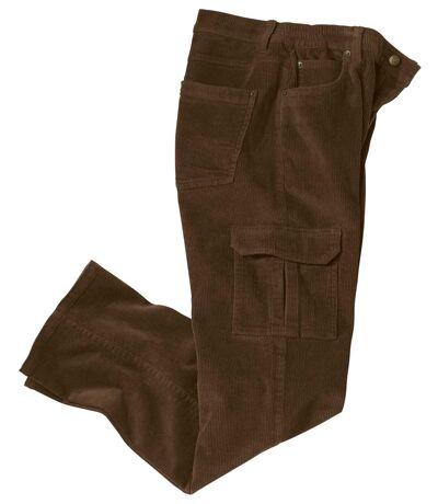 Pantalon Cargo en Velours Stretch Marron