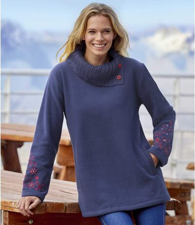 Women's Button-Neck Navy Fleece Sweater